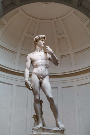 FLORENCE, ITALY – FEBRUARY 21, 2019: The original marble statues of David Michelangelo in the gallery of the Academy