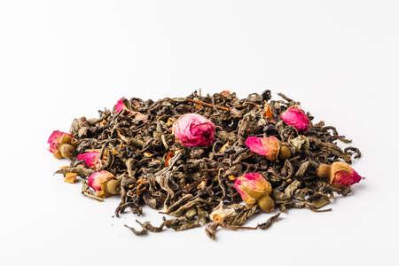 Black dry tea with fruits and petals Reklamní fotografie