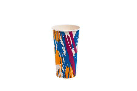 Colorful paper cup isolated on white Imagens