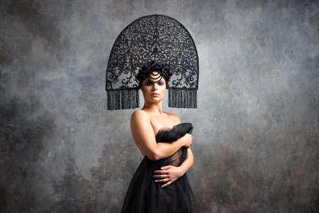 Russian style woman fashion model in kokoshnik