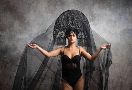 Gorgeous Fashion Brunete Woman In Russian Style Kokoshnik studio fashion shot
