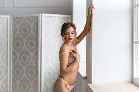 Beautiful alluring woman in sexy lingerie in luxury modern interior Reklamní fotografie