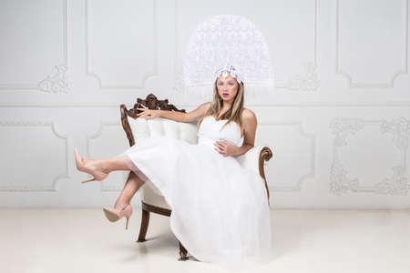 fashion portrait of young elegant woman. Studio shot Stock Photo