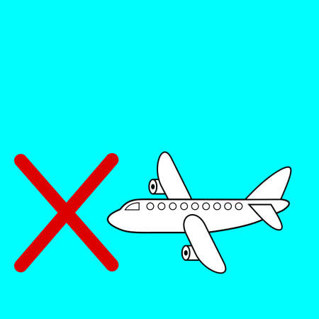 A Plane against blue sky in front of ban sign of red color.