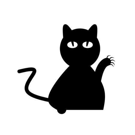 A close up of a black cat with a clawed paw on white background.