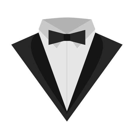 아이콘 턱시도 평면. 나비와 함께 아이콘 클래식 턱시도입니다. 남자를위한 비즈니스 스위트. 흰색 배경에 남성 공식적인 양복 아이콘 일러스트