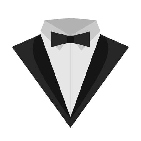 Icon tuxedo flat. Icon classical tuxedo with a butterfly. Business suites for man. Men formal suit icon on a white background Ilustracja