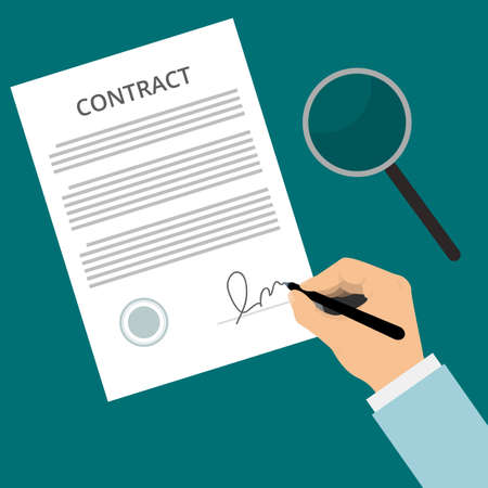 carefully: Vector agreement icon - hand signing contract on white paper. Contract Sign Up. Man signs contract. Signed contract on the table with a magnifying glass, carefully examines