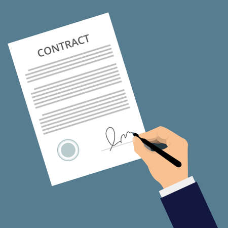 signing contract: Man signs document with stamp. Vector agreement icon, flat illustration. Signing contract. Man in a suit puts his signature on a piece of paper