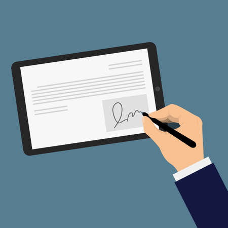 Digitale handtekening op tablet. Zakenman kant gezet digitale handtekening op een tablet. Hand in een pak te zetten van een elektronische handtekening op een tablet Stock Illustratie