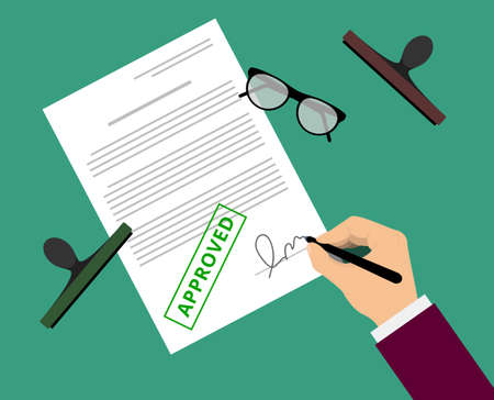 Man in suit claims contract by stamp and sign on table with glasses. Document approval vector illustration in flat design. Hand puts signature in the document with approved mark