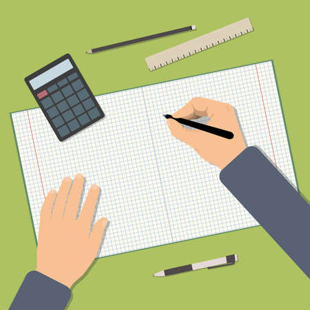 Back to school. Back to education. Flat vector illustration of Working student table. Top view of table with notebook, pen, calculator, ruler. Concepts for education and promotional materials