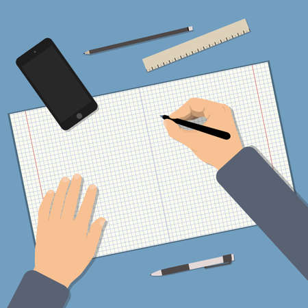 Back to school. Back to education. Flat vector illustration of Working student table. Top view of table with notebook, pen, phone, ruler. Concepts for education and promotional materials
