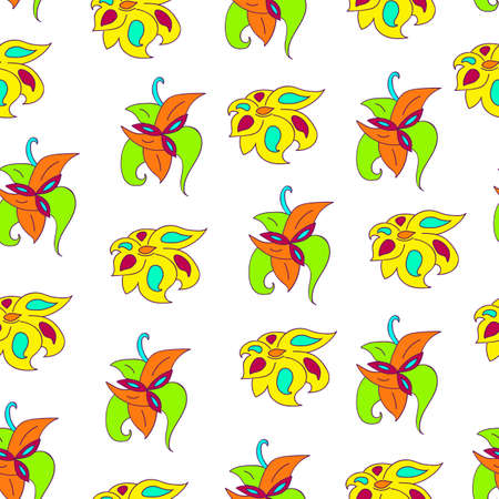 Bright abstract floral pattern. Background of colorful flowers flat vector illustration. Seamless flowers pattern isolated on white background. Pattern for printing on wallpaper, fabric, pajamas