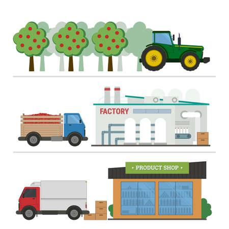 Flat vector illustration juice production processing. Stages of production and processing of juice from a orchard to table. Concept of production process isolated on white background
