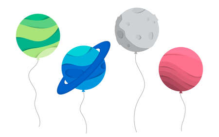 Vector illustration of planet ballons. Concept for a greeting card, birthday card. Cosmic Planet paper cut, paper art. Planet and satellite double exposure Ilustrace