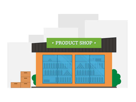 Flat vector illustration of shop building. Store shop front building with goods in windows. Shop facade icon isolated on white background. Grocery store in the city Ilustrace