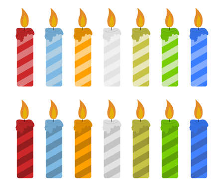 Set of color candles vector illustration isolated on white background. Simple candle with strips flat concept vector illustration. Vector birthday candle in flat style. Big candles kit with twisted strips Illusztráció