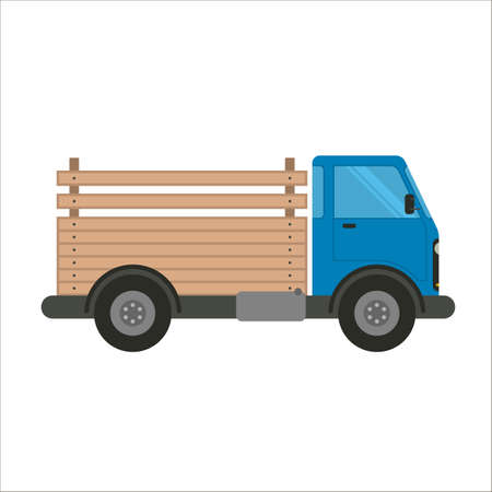 Pick-up truck vector flat illustration. Trucking and delivery car side view. Blue truck car with wooden pick-up body isolated on white background. Truck for transportation with open back made of wood. Ilustrace