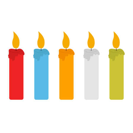 Set of color candles vector illustration isolated on white background. Simple candle flat concept vector illustration. Vector birthday candle in flat style