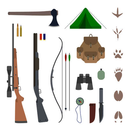 Hunting equipment kit flat vector illustration isolated on background. Set of hunting elements icons and concepts.