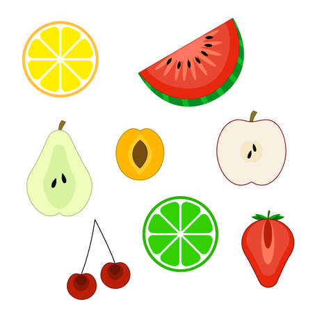 Set of flat fruit icons: lemon, orange, pear, watermelon, lime, apple, cherry, apricot, strawberry.Vector illustration, isolated on white background. Fruit halves kit