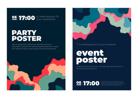 Fest poster vector illustration. Event paper art concept poster. Paper cut style party template for banner, placard, poster, flyer. Ilustrace
