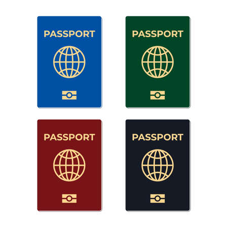 Biometric passport set isolated on white background. International identification document for travel flat vector illustration. Passport with biometric data.