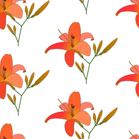 Blooming lilies floral pattern vector illustration. Background of colorful flowers. Seamless flowers pattern isolated on white background. Pattern for printing on wallpaper, fabric, pajamas