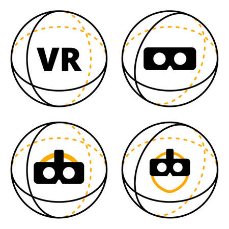 VR icons in sphere flat vector illustration. Set of virtual reality icons concept. VR conceptual icons of additional reality isolated on white background.