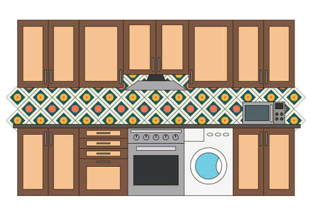 Flat isolated kitchen room. Graphic kitchen interior vector illustration. Kitchen interior isolated on white background. Kitchen with tile, washer, oven and microwave