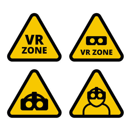 VR zone caution sign vector flat illustration. Set of VR signs. Yellow triangle sign virtual reality set isolated on white background. VR helmet icon, VR logo