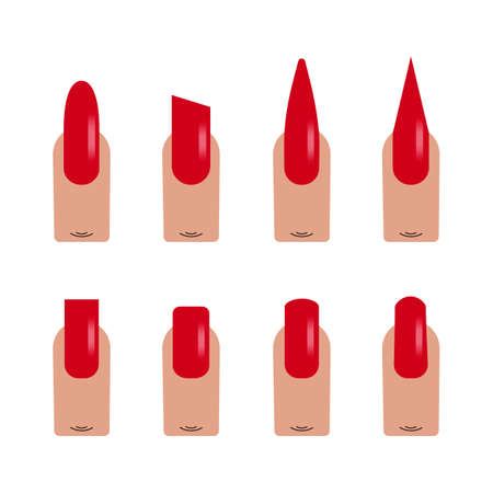 Nails shape icons vector flat illustration. Set kinds of nails isolated on white background. Nails type trends, nail polish different forms painted red, forms of nails for demonstration to the client.