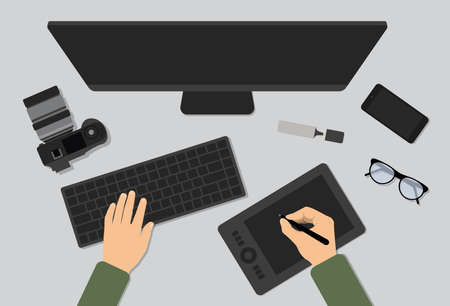 Photographer work at the table flat vector illustration. Man working with photo. Photographer workspace isolated on gray background
