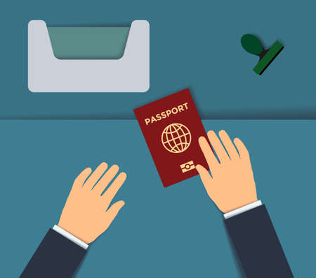 Biometrics passport control, border control counter concept. Passport with biometric data international identification document for travel flat vector paper art illustration. Checking the biometric passport with the scanner at passport control.