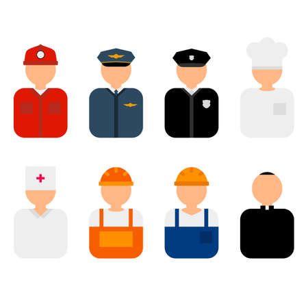 Professions flat characters vector illustration. Profession avatars icons set. Set of colorful profession people flat style icons without faces. Doctor, policeman, fireman, cook, priest, worker Ilustrace
