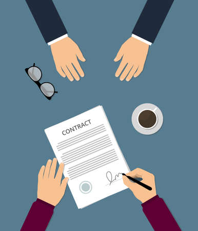 Contract signing flat vector illustration.  Businessman signs treaty contract. Conclusion of the work contract. A person signs a contract of employment. Concept of the contract, counter, transactions Çizim