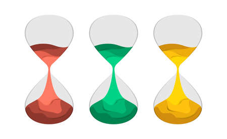 Hourglass flat vector illustration paper cut. Set of sand-clock with colored sand. The concept of time for printing or banner, paper art style.