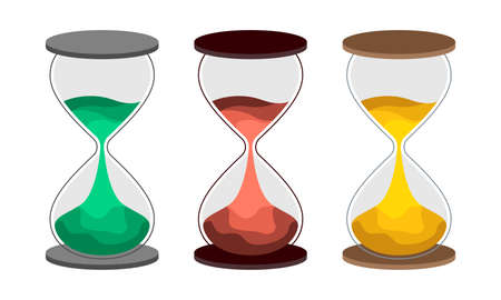 Hourglass flat vector illustration.  Set of sand-clock with colored sand. The concept of time for printing or banner. An interesting embodiment for the design Ilustrace