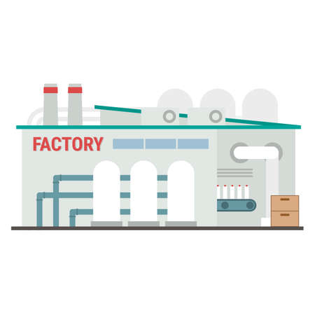 Factory building icon flat vector illustration. Industrial manufacturing building with pipes and conveyor isolated on white background. Concept of manufacturing with the final product as a result