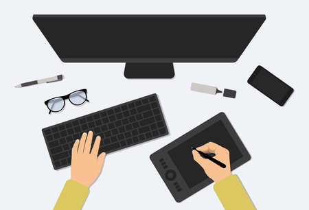 Workspace Vector Illustration. Top view of modern designer desk and workspace table. Top view of monitor, keyboard, mobile, pen, glasses, mouse. Man working at a computer. Designer working