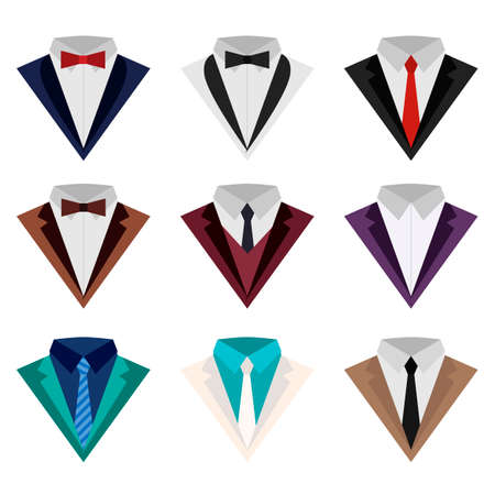 A set of colorful icons of suit and tuxedo, flat style isolated on white background. Vector illustration of holiday and classic suits. Clothes with a tie or a butterfly. Ilustrace