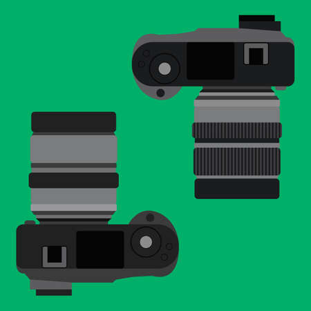 Top view of digital camera flat vector illustration. Simple photo camera view from the top isolated on green background. Professional dslr photo camera top view Ilustrace