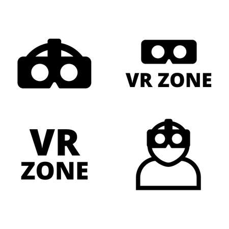 Set of flat vr icons. VR logos kit vector illustration. Simple VR icons isolated on white background
