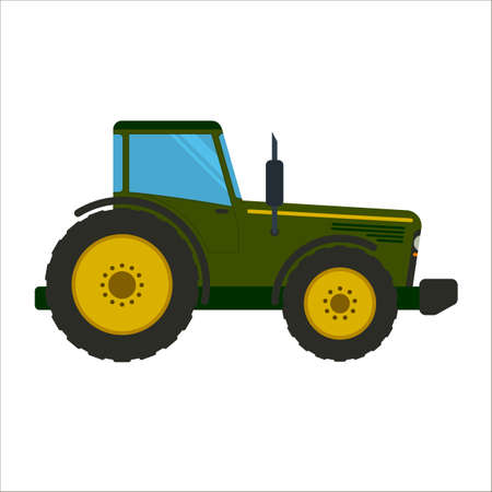 Green tractor flat vector illustration. Heavy farm machinery for field work. Green tractor side view isolated on white background Ilustrace