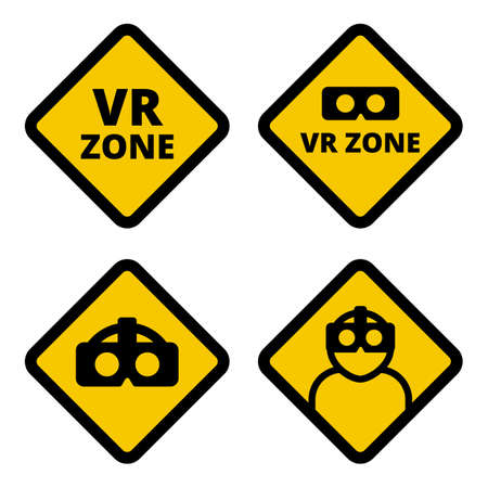 VR zone caution sign vector flat illustration. Set of VR caution signs. Yellow square signs virtual reality set isolated on white background.