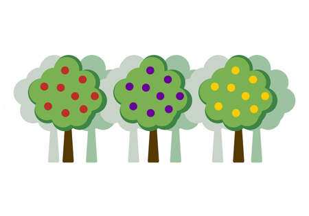 Orchard concept flat vector illustration, apple tree, plum, orange, pear. Fruit trees in a row against the backdrop of a garden. Trees in a flat style with fruits isolated on white background.