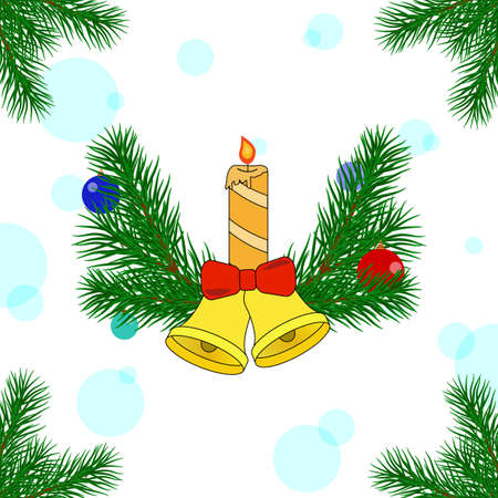Christmas decorations of pine trees with bells and a candle. New Year card. Vector illustration Ilustrace