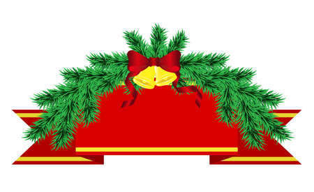 Ð¡oncept for New Year greeting cards. Christmas decorations of pine trees with bells and red ribbon. Template for inscription or congratulations.