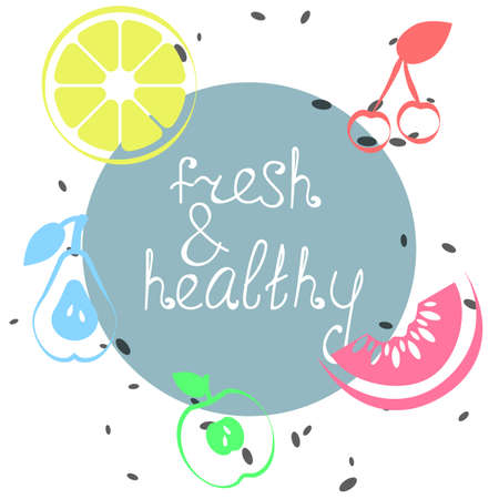 Summer poster with fruits, lemon, cherry, pear, watermelon, apple. Lettering fresh & healthy